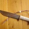 Le banc fustier : Détail couteaux de camp manche bois de renne