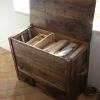 le banc fustier : Coffre à bois en noyer huile
