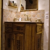 le banc fustier : Meuble vasque salle de bain en noyer sculpte et huile