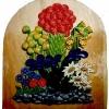 Le banc fustier : Bouquet de fleurs polychromes en arolle